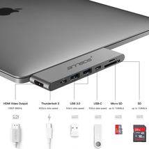 Cổng chia USB-C Hub AnnBos 7-in-1 Type C Hub with HDMI Port, USBC Charging Port, 2 USB 3.0 and 1 USB 2.0 Ports, SD/TF Card Reader (Grey)