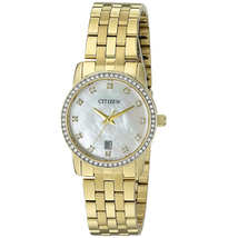 Đồng hồ Citizen Women's Quartz Stainless Steel Crystal Accented Watch with Date, EU6032-51D