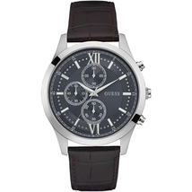 Đồng hồ GUESS Men's Brown Leather With Grey Analog Dial Watch W0876G1
