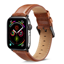 Compatible Apple Watch Band 44mm 42mm, MAPUCE Classic Style Genuine Leather Iwatch Bands with Stainless Metal Buckle Replacement Strap-Brown