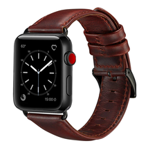 Compatible with Apple Watch Band 42mm 44mm, Genuine Leather Band Replacement Compatible with Apple Watch Series 4 Series 3 Series 2 Series 1 (42mm 44mm) Sport and Edition, Brown