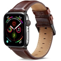 Compatible Apple Watch Band 44mm/42mm Series 3, MAPUCE Classic Style Genuine Leather Bands with Stainless Metal Buckle Replacement Strap-Dark Brown