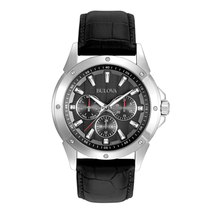 Đồng Hồ Bulova Men's 96C113 Stainless Steel Watch with Black Leather Strap
