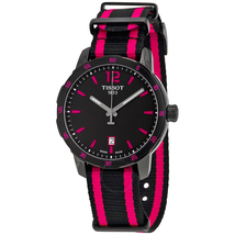 Tissot Quickster Black Dial Black and Hot Pink Nylon Ladies Watch T0954103705701 T095.410.37.057.01