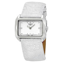 Tissot T-Wave White Dial Silver Leather Ladies Watch T0233091603102 T023.309.16.031.02