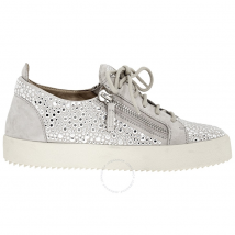 Giuseppe Zanotti Ladies Silver Sneakers All Over Strass RW80066