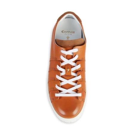 Pierre Corthay Men's Brown Sneakers Patna Calf, Suede Tab NINE CALF DARK BROWN