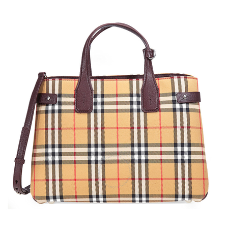 Burberry Medium Banner Vintage Check and Leather Tote- Deep Claret 4076952